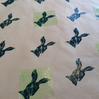 Hand printed Hare & Holly Gift Wrap