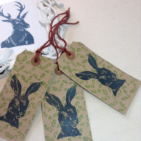 Hand printed Hare & Holly Gift Tags