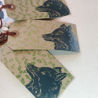 Hand printed Fox Gift Tags