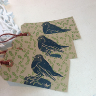 Hand printed Robin and Holly Gift Tags
