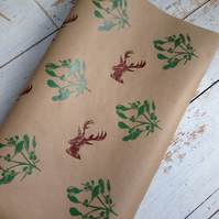 Hand printed Mistletoe and Stag Gift Wrap