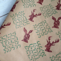 Hand printed Holly, Stag and Hare Gift Wrap