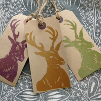 Hand Printed Stag Gift Tags