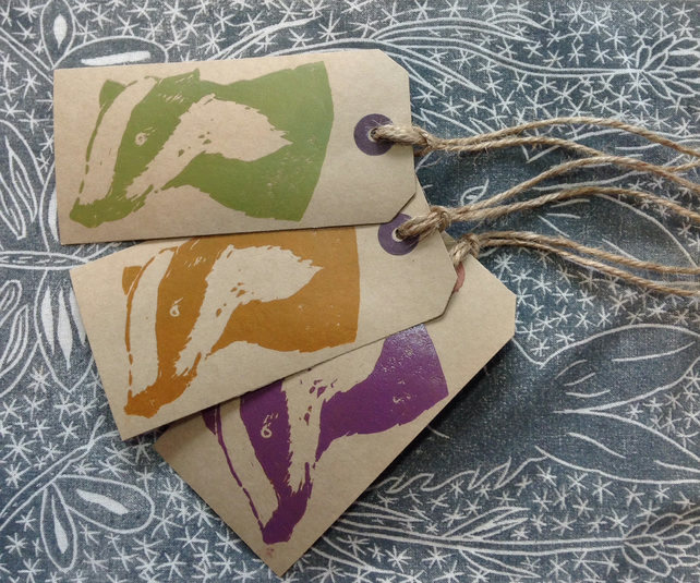 Hand Printed Badger Gift Tags.