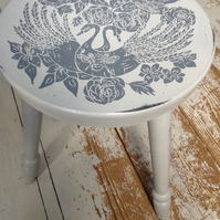 Lino print on chalk painted stool