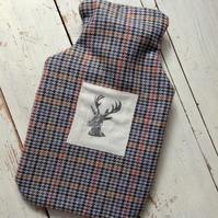 Hand printed Stag Hot water Bottle Cover