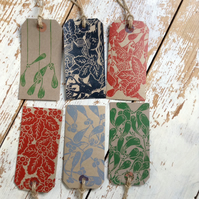 Set of three Hand Printed Gift Tags