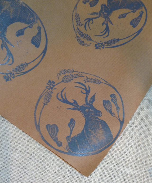 Luxury hand Printed Stag Gift Wrap