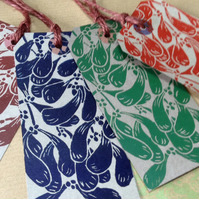 Set of Four Handprinted Christmas Gift tags