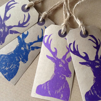 Set of four hand Printed Stag Gift Tags