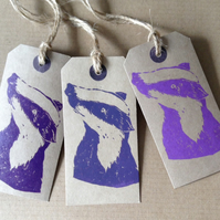 Hand printed Badger Gift Tags