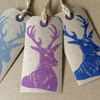 Set of three hand printed stag gift tags