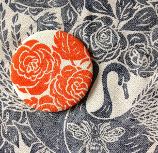 Hand Printed Rose Pocket Mirror