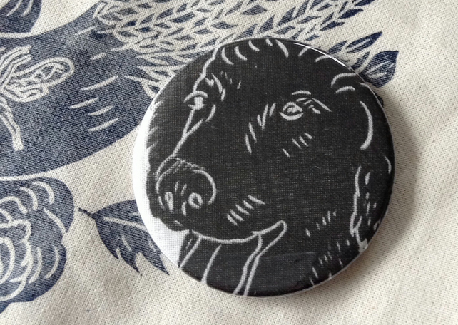 Hand Printed Dog Pocket Mirror