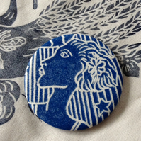 Hand Printed 1920 lady pocket Mirror