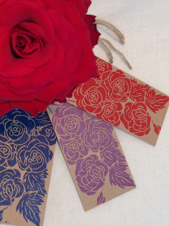 Hand Printed Rose Gift Tags