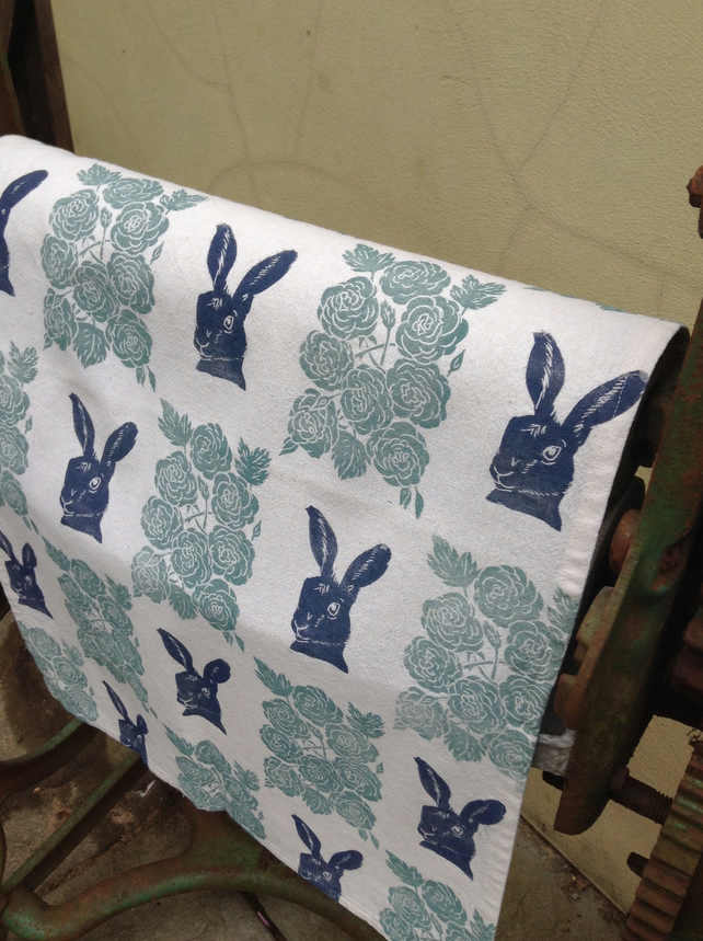 Hand Printed Hare Tea Towel