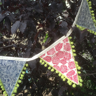 Hand Printed Bobble edged Bunting