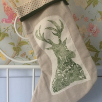 Hand Printed Christmas Stocking