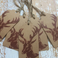 Hand Printed Stag Mini Gift Tags