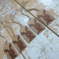 Hand Printed Hare Gift Tags
