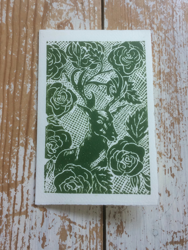 Hand Printed Stag Greeting Card