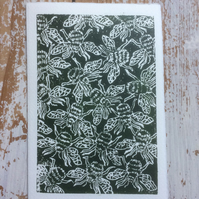 Hand Printed Bee Greetings Card