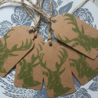 Hand Printed Mini Christmas Stag Gift Tags
