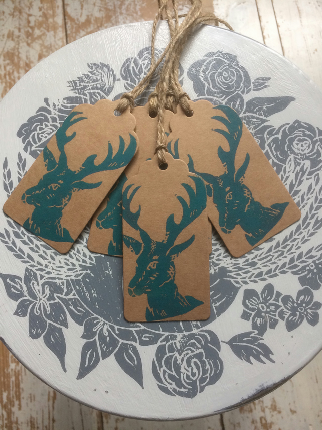 Hand Printed Mini Stag Gift Tags
