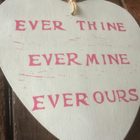 Hand Printed Wooden Heart