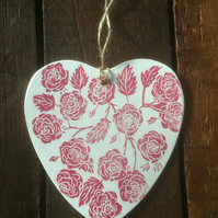 Hand Printed Wooden Heart with Roses