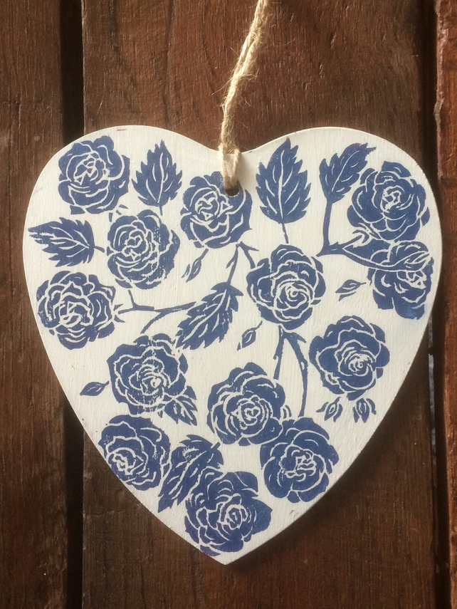 Wooden Heart Hand Printed with Roses