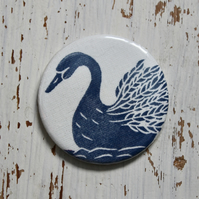 Hand Printed Swan Pocket Mirror