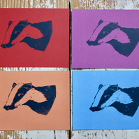 Hand Printed Badger Postcards