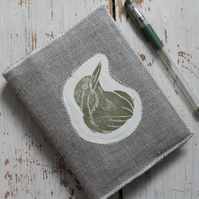 Hand Printed Bird on Natural Linen Notebook Cover