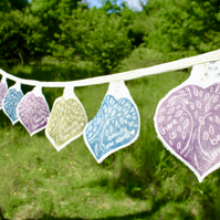Hand Printed Tree Bunting, wedding Bunting
