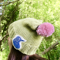 Hand Knitted Beanie, green beanie with bird brooch