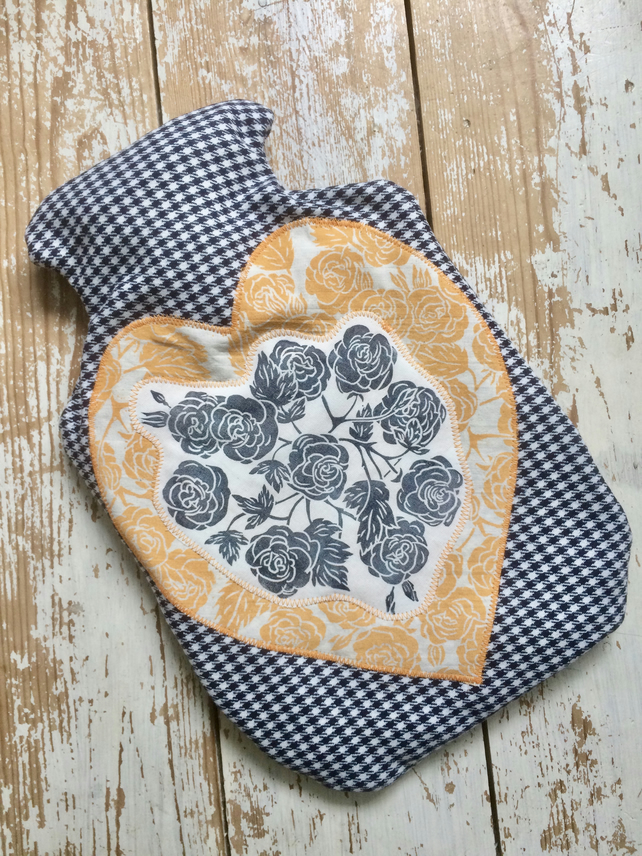 Hand Printed Hot Water Bottle Cover