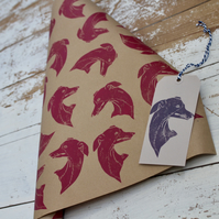 Hand Printed Whippet Gift Wrap and Gift Tag