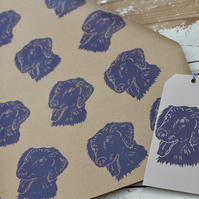 Hand Printed Dog Gift Wrap and Gift Tag