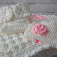 Crochet Baby Blanket, Diaper Cover, Baby Beanie Hat Gift Set. Made to order.