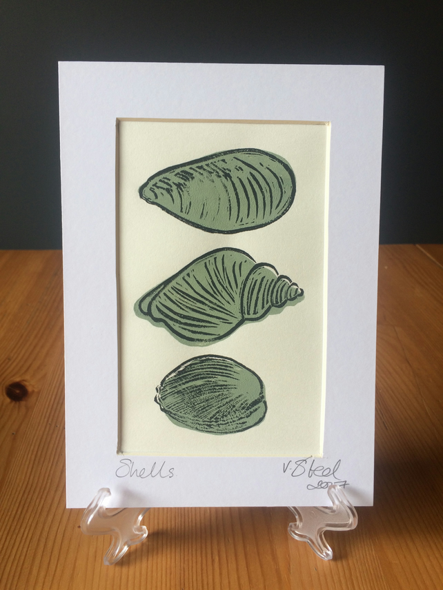 Green Shells (original linocut print)