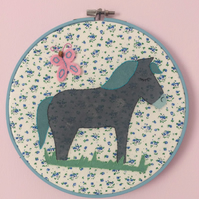 Blue Horse Embroidery Hoop Picture