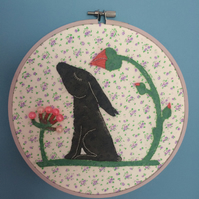 Purple Hare Embroidery Hoop Picture