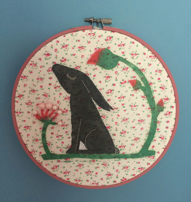 Pink Hare Embroidery Hoop Picture