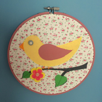 Pink Bird Embroidery Hoop Picture