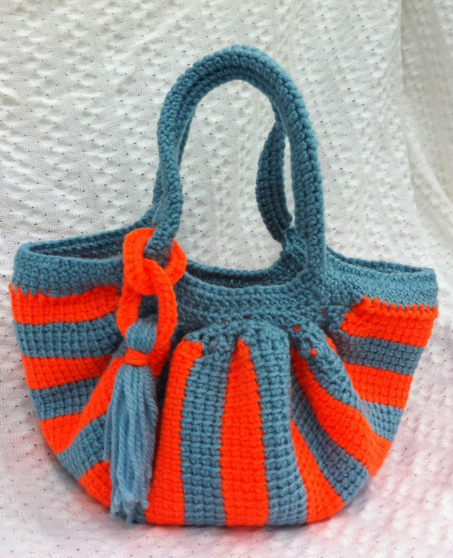 Little orange stripe crochet fat bottom bag - Folksy