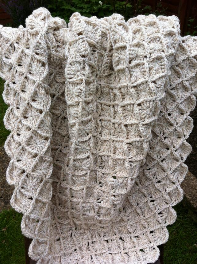 Crochet Pattern For Lap Afghan : Woollen Oatmeal Bavarian Crochet Lap Blanket or... - Folksy