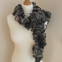 Black and grey ruffle scarf