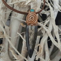 Orthoceras Fossil and Turquoise Pendant